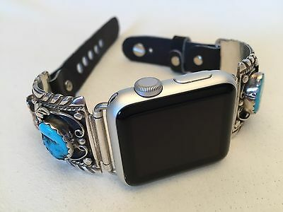 Native American Sterling Silver Turquoise and Coral Apple WATCH Band 38mm