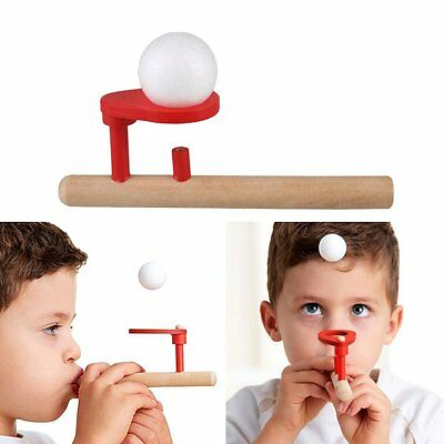 Wood Wooden Blow Flighting Ball Game Oral Speech Therapy Autism Training Toy M2