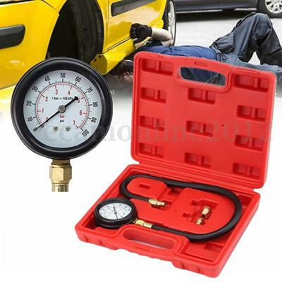 100PSI Auto Oil Pressure Tester Set Gauge Engine Diagnostic Tools Kit + Adapters