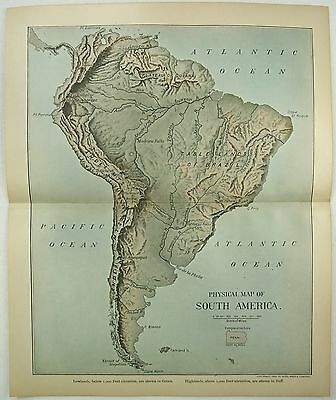 Original 1902 Dated Physical Map of South America by Dodd Mead & Company