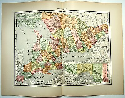 Original 1895 Map of Ontario, Canada by Rand McNally