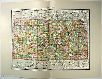 Original 1895 Map of Kansas by Rand McNally