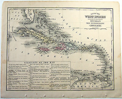 Original 1871 Mitchell's Copper-Plate Map of The West Indies - Hand Colored