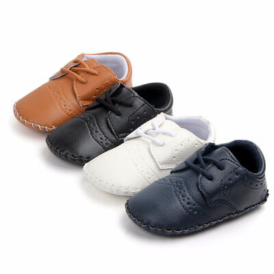 Toddler Baby Boys First Walkers Lace-Up PU infant soft sole Crib Shoes Sneaker