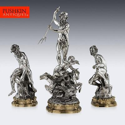 ANTIQUE 20thC ITALIAN EUGENIO AVOLIO SOLID SILVER SCULPTURES, NAPLES c.1930