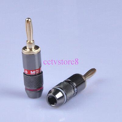 8pcs Banana Plug Jack Audio Speaker Gold Plate Connector HIFI Amplifier Part DIY