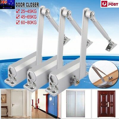 Heavy Duty Adjustable Fire Rated Hold Open Silver Door Closer Suits 25~80KG AU