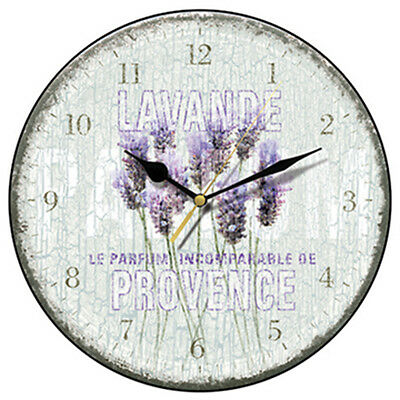 Shabby Chic Lavande de Provence Kitchen Wall Clock with Integral Hanger