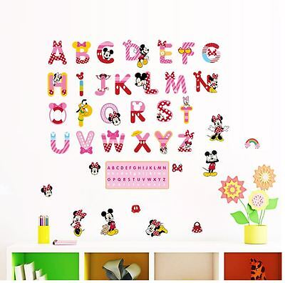 Wall stickers Mickey Minnie mouse alphabet  Art Kids Nursery Decal removable