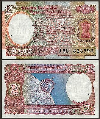 India 2 RUPEES Sign 83 Letter A  ND P 79f UNC