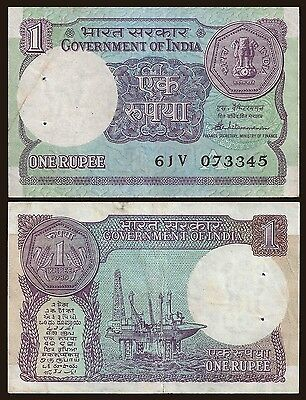 India 1 RUPEE 1989 Letter A Sign.44 P 78Ac VF