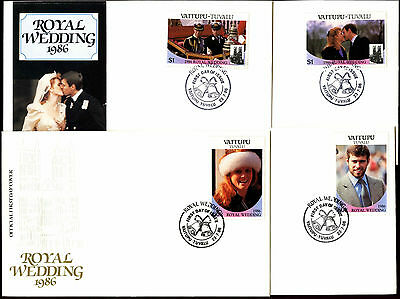 Vaitupu 1986 Royal Wedding FDC First Day Cover Set #C39891