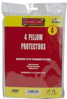 4 Pillow Protectors Covers Mildew Fungal Proof Stain Resistant Washable Mite