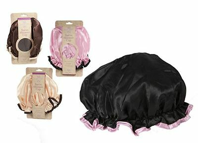 1 X SATIN SHOWER CAP/ BATH HAT -  WATERPROOF/LINED - BLACK/PINK/BROWN or PEACH