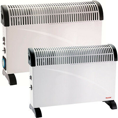 2000W Portable Electric Thermostat Convector Heater With Timer & Turbo