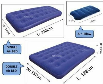 Kingfisher Single/double Inflatable Blow Up Air Bed Mattress Bedrooms Camping