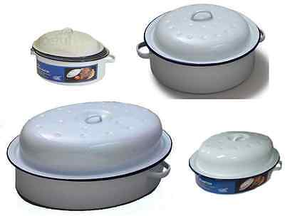 Oval - Round Roaster Enamel Dish Roasting Oven Tray Casserole Pan White With Lid