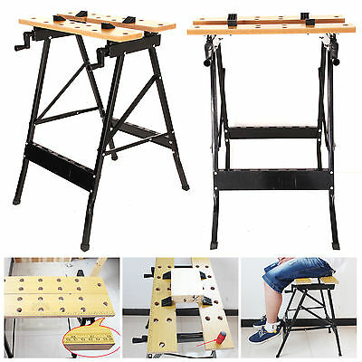 2 x FOLDABLE WORKBENCH PORTABLE WOOD BENCH WORK CLAMPING FOLDING WORKTOP TABLE