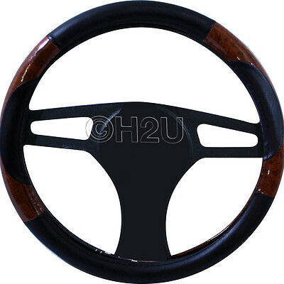Steering Wheel Cover Leather & Maple Effect- Patent Wood Look High Quality