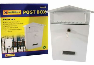 Letter Post Mailbox Lockable Outside 2 Keys Postbox Fixing Exterior Small White