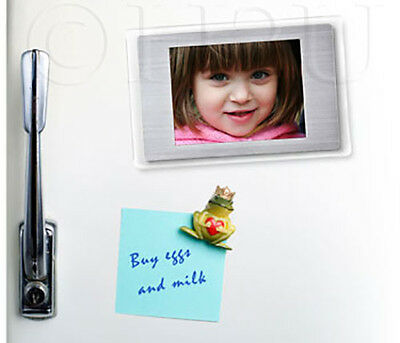 """2.4"""" Magnetic Digital Photo Picture Video Frame White Clear Silver Fridge Magnet"""