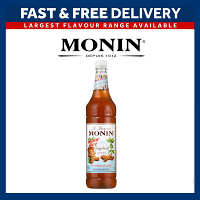 MONIN Coffee Cocktail Syrups - 1L SUGAR FREE Gingerbread - USED BY COSTA COFFEE