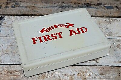 Vintage 1950's Ever Ready First Aid Tin Case Kit With Original Contents