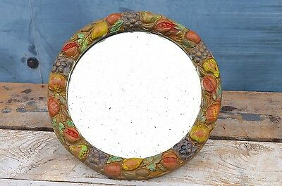 Antique Distressed Round Barbola Bevelled Mirror Painted Fruit Wooden Back
