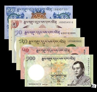 Set of 6 PCS Bhutan 1,5,10,20,50,100 Ngultrum Banknotes  UNC