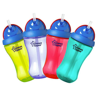 Tommee Tippee pop up essentials straw bottle 300ml 12m+ boys/girls bpa free