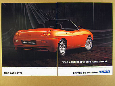 1998 Fiat BARCHETTA Roadster red car photo vintage print Ad