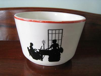 Harker Pottery Modern Age Vtg 1930 COLONIAL SILHOUETTE Utility Bowl Red Stripe