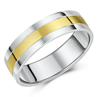 """6mm 9ct Yellow Gold & Silver Wedding Ring Band """"SALE"""""""