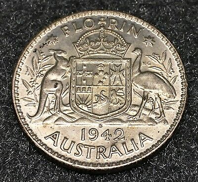 UNC Silver 1942-S Australia King George VI Florin KM #40 .3364 ASW old coin MS