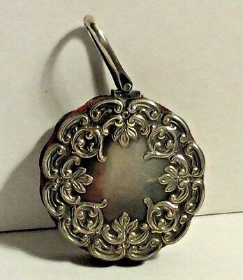 Antique  Sterling Silver Red Velvet Disc Chatelaine Pin Cushion Sewing #299