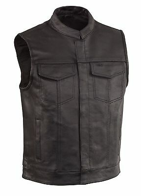 Men's SOA Motorcycle Biker Leather Vest with gun pockets  concealed carry arms