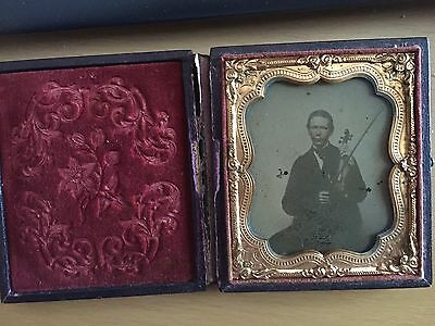 VINTAGE TINTED MUSICAL STUDY: Rare Tinted Ambro of a Young Man with His Violin