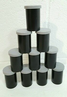 Lot of 10 Black Plastic 35mm Film Canisters/Containers w/ Gray Lids Geocaching