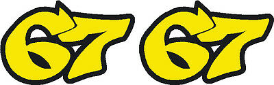 2x Shakey Byrne #67 stickers - 70mm x 45mm decals - Flo. Yellow + Black