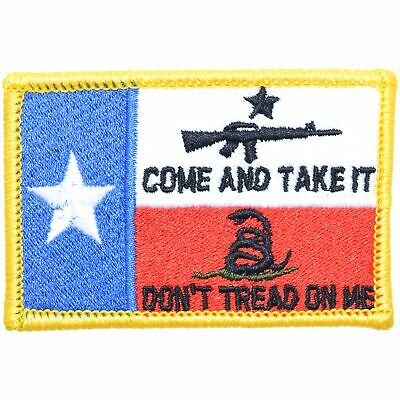 Texas Flag Come Take It AR15 Gadsden Snake -2x3 Military/Morale Patch Hook Back