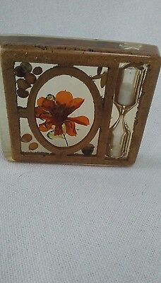 vintage inlayed clear resin paper weight with dry flowers seeds and an hourglass