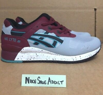 buy popular 12748 eb371 ASICS GEL LYTE III 3 NS Light Grey/Black Speckled Burgundy Green HN6D2-1390  Red