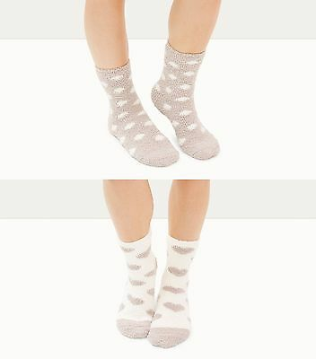 2 Pairs Of Womens Fluffy Bed Slipper Socks In  Mink One Size Fits All