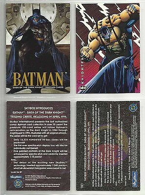 "1994 Batman: Saga of the Dark Knight ""Complete Set"" of 2 Promo Cards (NO#/CBC1)"