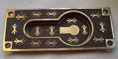 Vintage Ornate 1870s POCKET SLIDING DOOR PULL Victorian Eastlake Plate