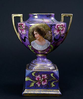Awesome Austrian Small Portrait Lusterware Porcelain Urn
