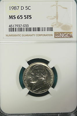 1987-D  Ngc Ms65 5 Full Steps  Jefferson Nickel!! #a8288*