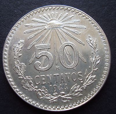 Mexico 50 Cent Silver  Beautiful Coin UNCIRCULATED 1944