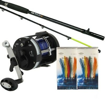NGT Boat 6 ft Max Sea Fishing Rod & LS3000 Multiplier Reel  +Line with feathers