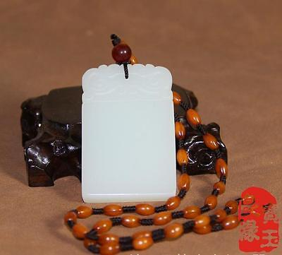 100% Natural Hand-carved Chinese White Jade Pendant Jadeite Necklace Certify